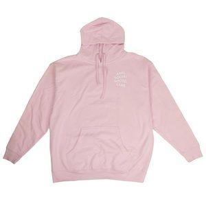 Anti social social club hoodie in baby pink
